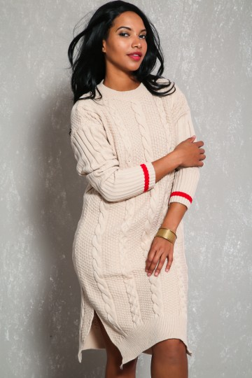 Sexy Beige Cable Knit Stripe Sleeve Sweater Dress
