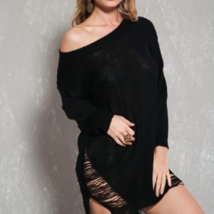 Sexy Black Long Sleeve High-Low Hem Distress Sweater Dress