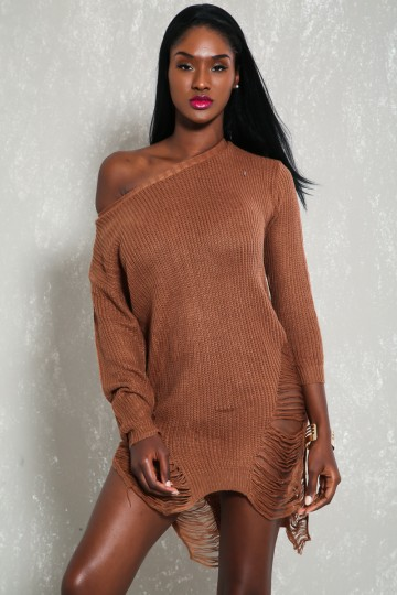 Sexy Brown Semi-Sheer Bateau Neckline Long Sleeve High-Low Hem Distress Detail Sweater Dress