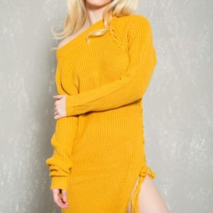Sexy Mustard Knit Side Lace Up Casual Sweater Dress
