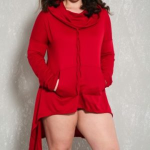 Sexy Wine Long Sleeves High Low Hem Plus Size Sweater Dress