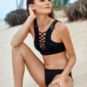 2018 Malai Swimwear Awe Fishbone Onix High Neck Top T00322